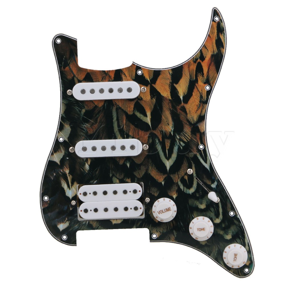 Yibuy 27x21.5cm Green Peacock Pattern 3-ply SSH Electric Guitar Loaded Prewired Pickguard Humburcker Pickup Assembly Set black pearl ssh guitar loaded prewired pickguard scratchplate assembly for electric guitar