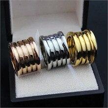Lujo CZ Diamond joyería De acero inoxidable Anillos para mujeres y hombres Bague Femme Anillos De Plata señor of The anillo anillo ancho