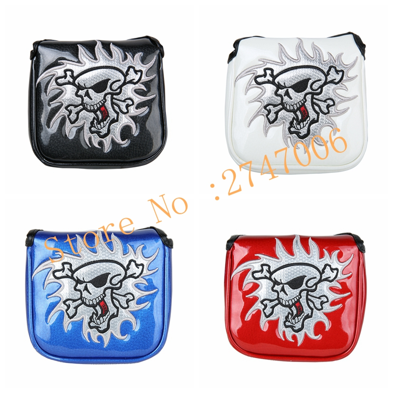4pcs Pack Golf Putter Cover Skull Mallet Head Cover Square Shape Magnetic Closure