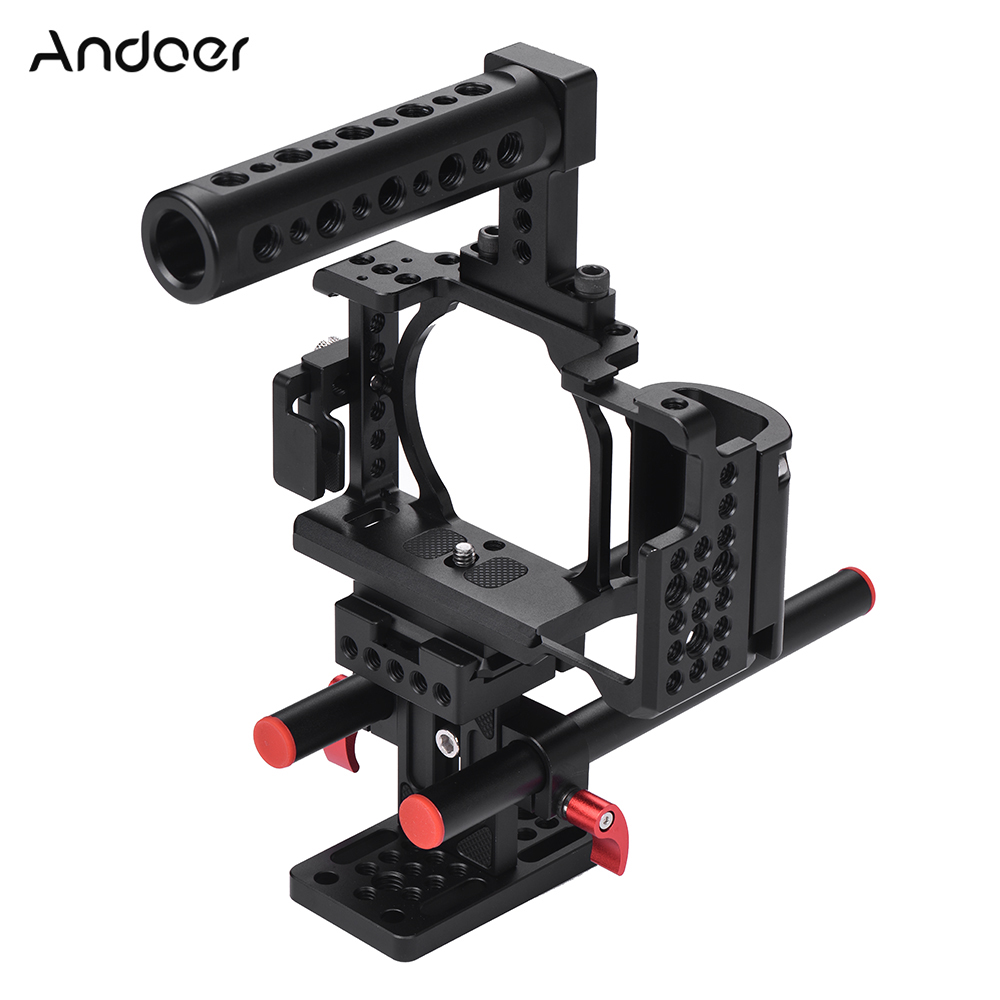 Andoer Protective Video Camera Cage Aluminum Alloy Stabilizer Protector With Cable Clamp For Sony Tripod Lighting Accessories