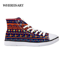 WHEREISART Fashion Hippie Boho High Top Canvas Shoes Women Casual Flat Female Basket Lace Up Trainers Chaussure