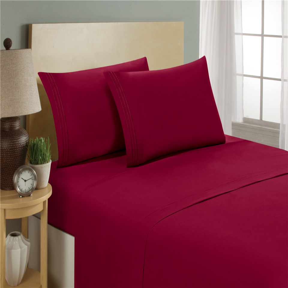Bedding resistant Hypoallergenic Sky Red Wine Colour Devoted Bedding Set Fitted Sheet Flat Sheet Pillowcase 3/4pcs 1800 Count Deep Pocket Stain