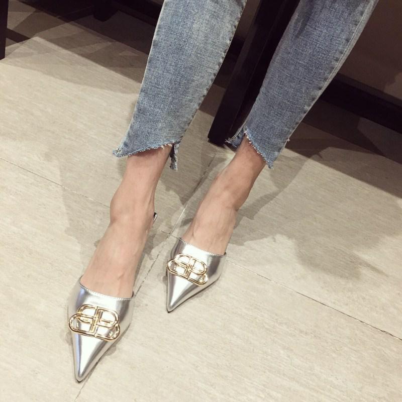 Women Pointed Toe Mules Kitten Heels