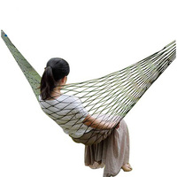 1 People Ultra Light Green Grid Hammock Tent Folding Bed Beach Camping Leisure Garden Sleeping Parachute