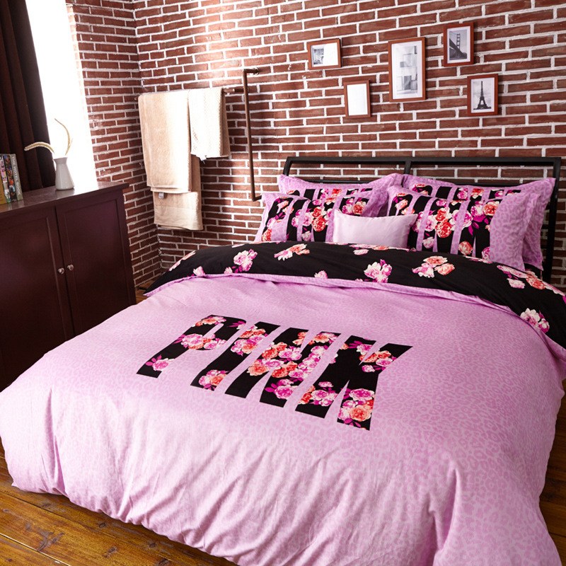 Pink Bedding Set 4 Pieces Brief Chic Style Duvet Cover Set