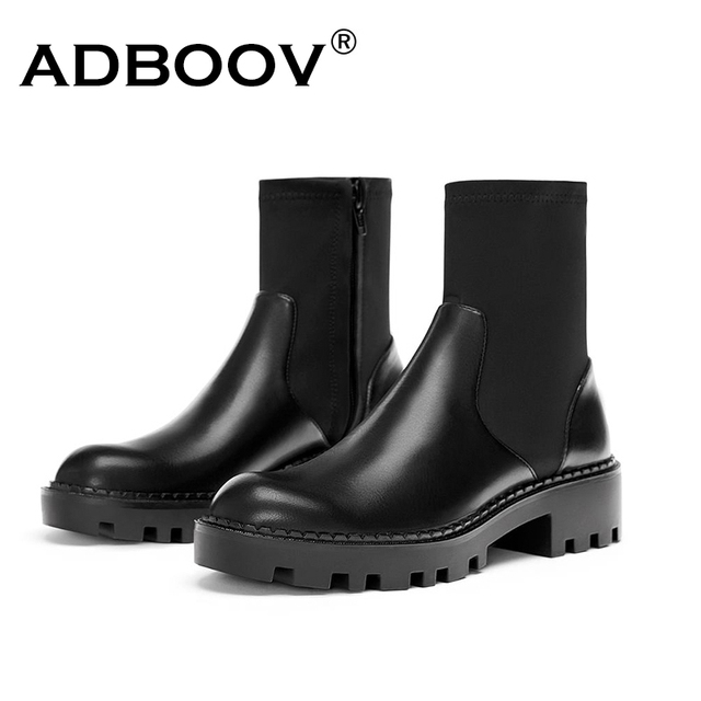 250996fa999 ADBOOV Black Ankle Boots Women Low Heel Zip Chelsea Boots Round Toe  Platform Leather Martin Boots Ladies Zapatos De Mujer