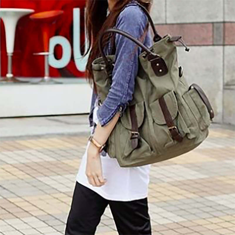 75defd6a0675 Large Pocket Casual Tote Women s Handbag Shoulder bags Canvas Leather  Capacity Bags For Women