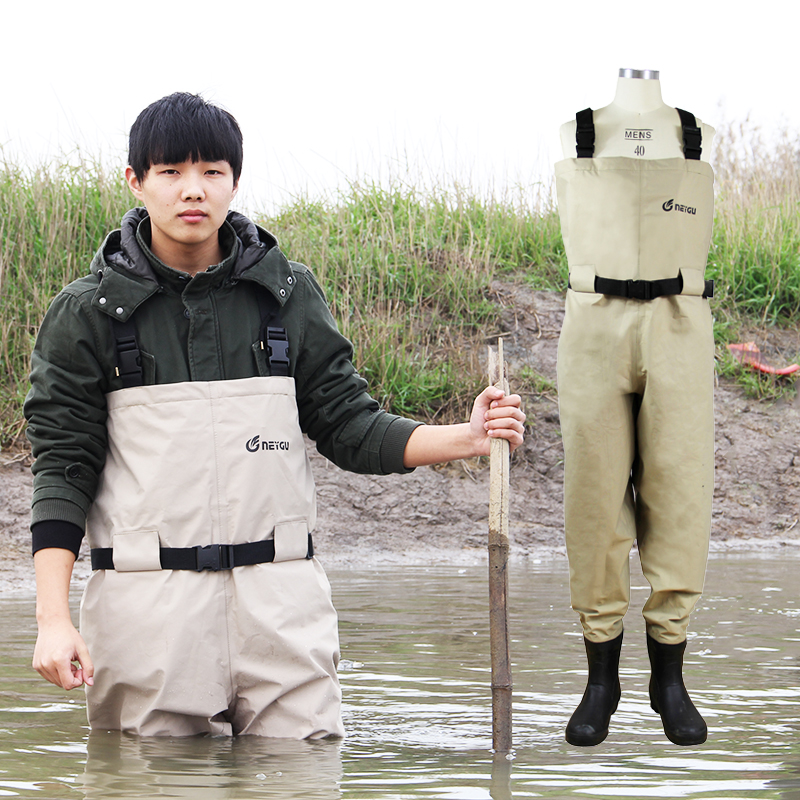 все цены на Breathable fishing waders for men, stocking foot chest waders, pesca waders