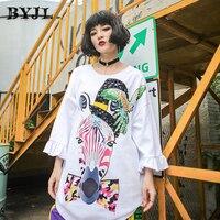 Hip Hop Punk Plus Size T Shirt Women O Neck Cotton T Shirt Basic Long Sleeve White Cool Zebra Printed T Shirts SZ1650