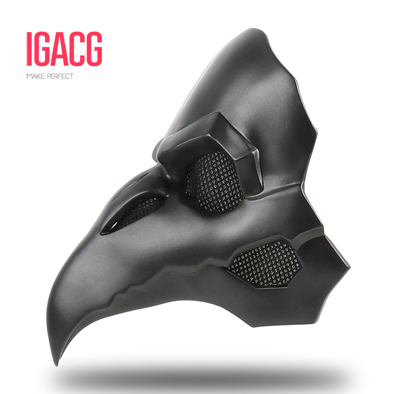 PVC Type!!! IGACG Punk Mask Crow Reaper Nevermore Skin Masks Reaper Plague Doctor Mask Birds Long Nose Punk Crow Retro Rock kevin new design women watches fashion black round dial stainless steel band quartz wrist watch mens gifts relogios feminino
