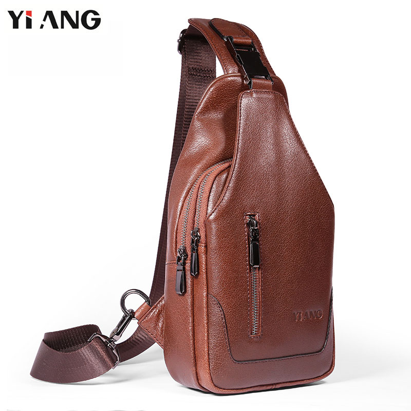 YIANG Vintage Chest Bag Men Chest Pack Single Shoulder Strap Back Bags Genuine Leather Crossbody Bags Tablet Messenger Bag lapoe 2018 new vintage genuine leather crossbody bags for men messenger chest bag pack casual bag single shoulder strap pack