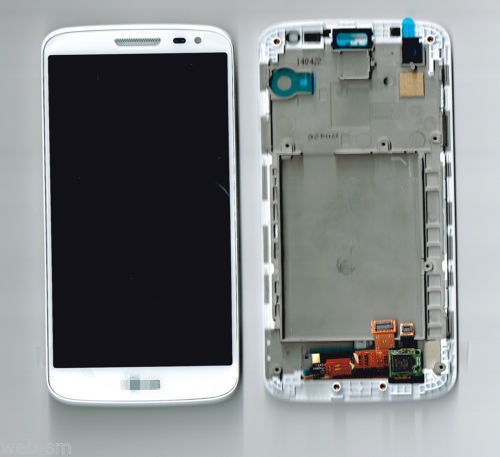 A LCD Display Digitizer Touch Screen Glass + Front Frame +logo For LG G2 mini D618 D620 D621 D625 Repair Part free shipping