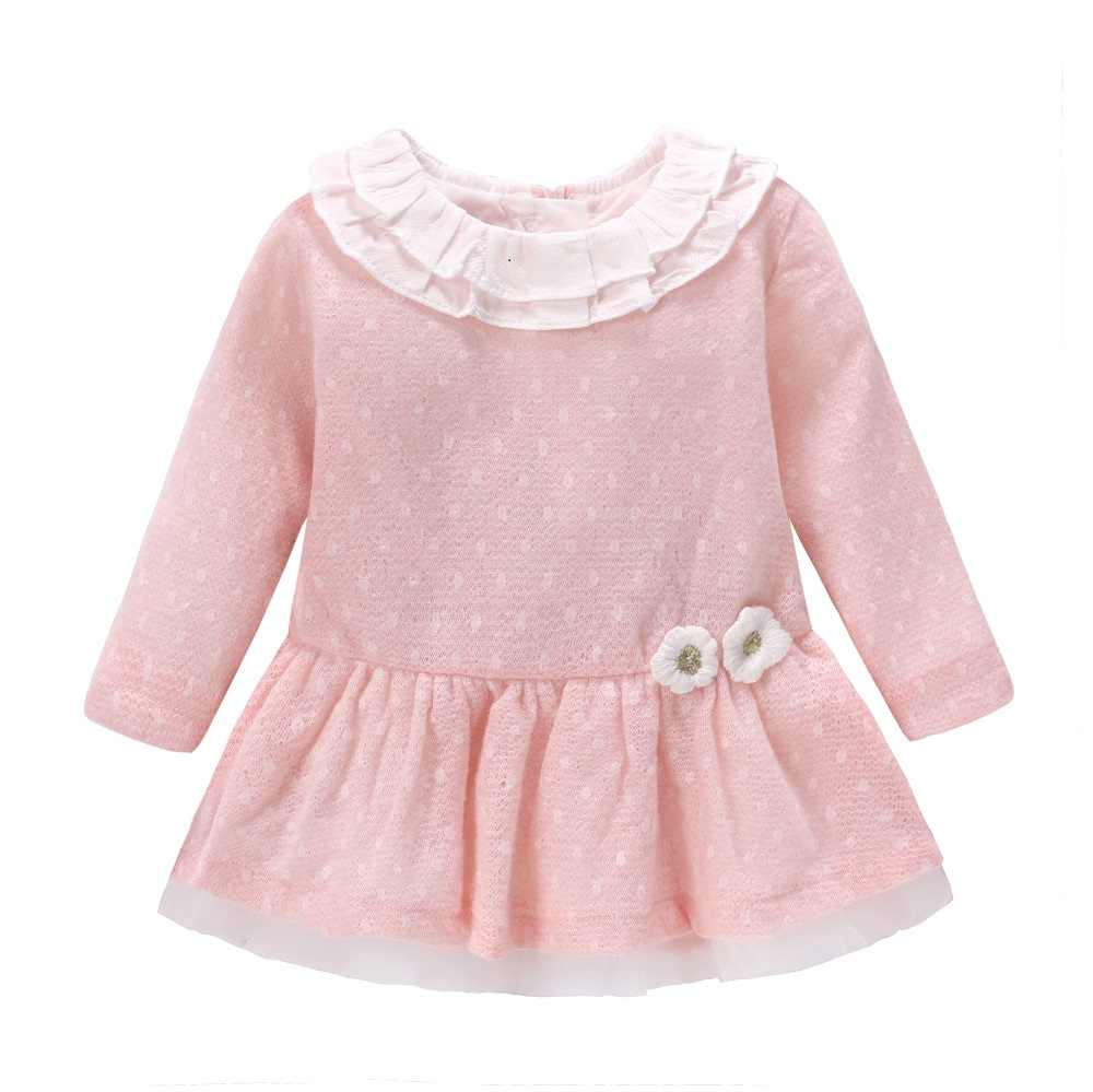 New 2018 Baby Girls Dress Wool Knit Crochet Dress Spring Autumn Cute Dress Newborn Clothing Cartoon Long Sleeve Infant Dresses