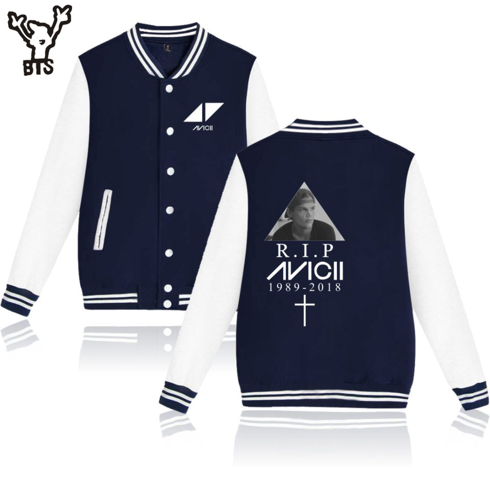 BTS R.I.P Avicii Autumn/Winter Women Jacket Long Casual Popular Jacket Sexy Cool Men Hip Pop Jacket Casual Print Plus Size 4XL