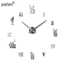 2015 new hot sale home decorations big wall clock Acrylic Living Room Quartz Needle watch clocks modern design free shipping