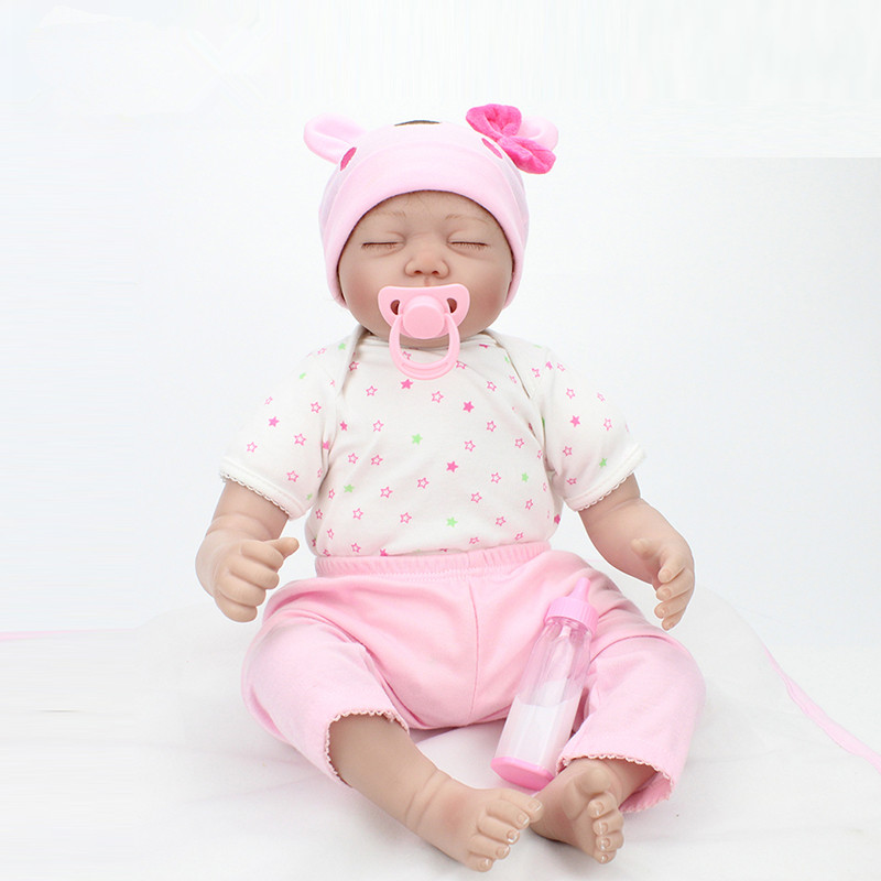 ФОТО 22 inch/55cm reborn babies realistic doll reborn boy girl gift for children play house toys with pink suit juguetes