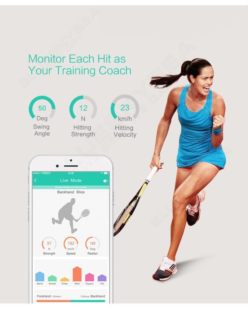 Free shipping!Coollang XiaoYu Smart Tennis Tracker Sensor Training Aid Swing Act