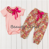 Adorable Baby Girl Clothes Set Cotton Bodysuit With Pants Set Infant Girl Floral Clothing Set