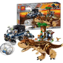 596Pcs Jurassic World T. Rex Transport Truck Dinosaur Tyrannosaurus Rex Model Building Blocks Toys Bricks Compatible lepining wiben jurassic tyrannosaurus rex t rex dinosaur toys action figure animal model collection learning