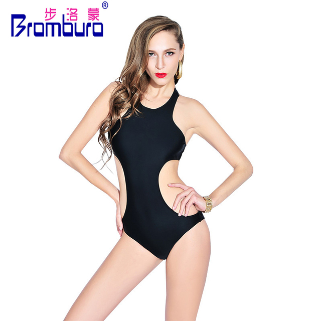 49a6cefda35e7 Hot Sexy High Neck Solid Black Monokini Slimming One Piece Swimsuit Cover  Belly Push Up Bodysuit Halter Backless Women Swimwear