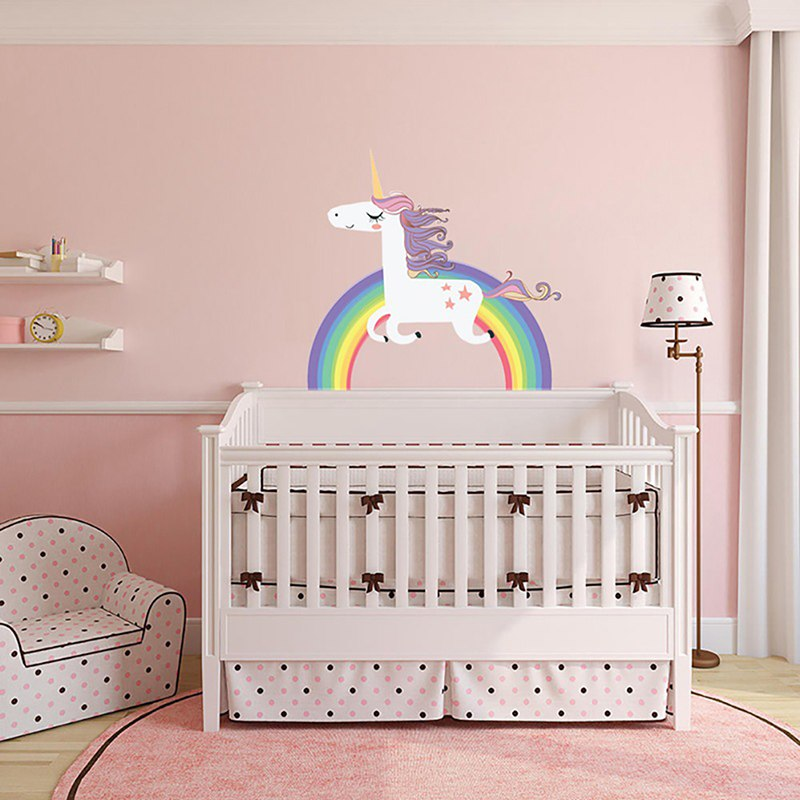 US $2.27 17% OFF|Unicorn Rainbow Wall Stickers DIY Vinyl Home Wall Decals  For Kids Room Girls Bedroom Window Nursery Decor Birthday Gift-in Wall ...