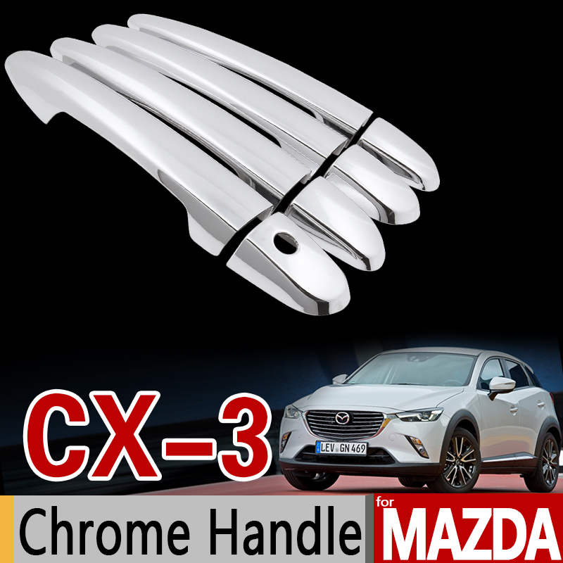 for Mazda CX-3 2016 2017 2018 Chrome Door Handle Cover Trim Set CX3 CX 3 Never Rust Car <font><b>Accessories</b></font> Stickers Car Styling