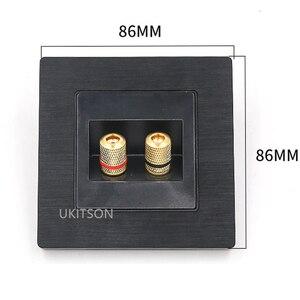 Image 3 - Czarny kolor 2 porty złącze głośnika panel ścienny metalowa rama Audio dźwięk wtyczka płyta czołowa 86x86mm
