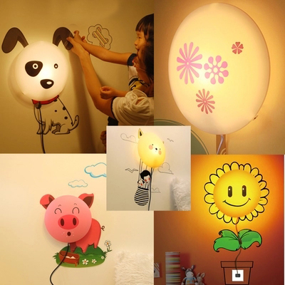 Removable 3D Wall Sticker LED Night Light Cartoon DIY Wallpaper Wall Lamp for Kids Sunflower, Dalmatian, Pink Pig, Departure cartoon cactus wall sticker