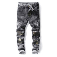 MORUANCLE Fashion Mens Hi Street Pleated Biker Jeans Pants Ripped Distrssed Motorcycle Denim Trousers Camo Patchwork