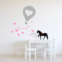Personalized Any Kids Name Hot Air Balloon Love Wall Decal Decorative Vinyl Wall Sticker For Baby