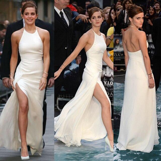 Emma Watson Ivory High Slit Celebrity Dresses Halter Backless Elegant Formal Dresses Simple Sexy Girls Long Party Dress ED17