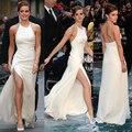 Emma Watson Marfim Fenda Alta Celebridade Vestidos Halter Backless Elegantes Vestidos Formais Simples Meninas Sexy Longo Partido Vestido ED17