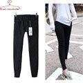 Mulheres negras Jeans Branco Jeans Mid-cintura sólidos skinny elastic cotton Denim calças Mulheres Jeggings calças jeans feminino