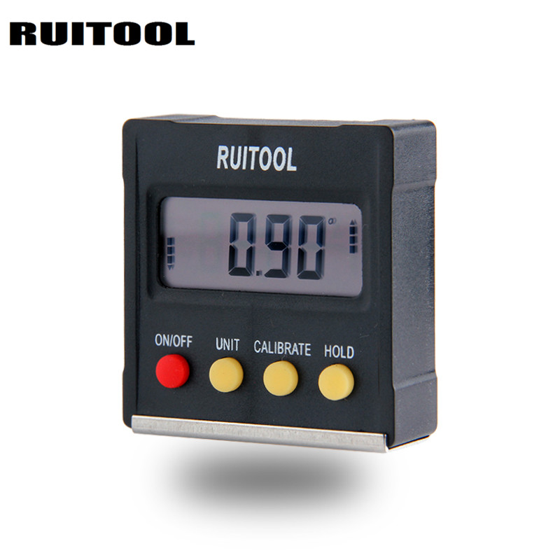 RUITOOL 360 Degree Mini Digital Protractor Inclinometer Electronic Level Box Magnetic Base Measuring Tools 0 225 degree digital angle level meter gauge 400mm 16inch electronic protractor free shipping