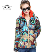 Leiouna Cycle Print Wadded Female Outwear New Slim Warm Cotton Long Sleeve Winter Coat Women With Hooded Basic Jackets