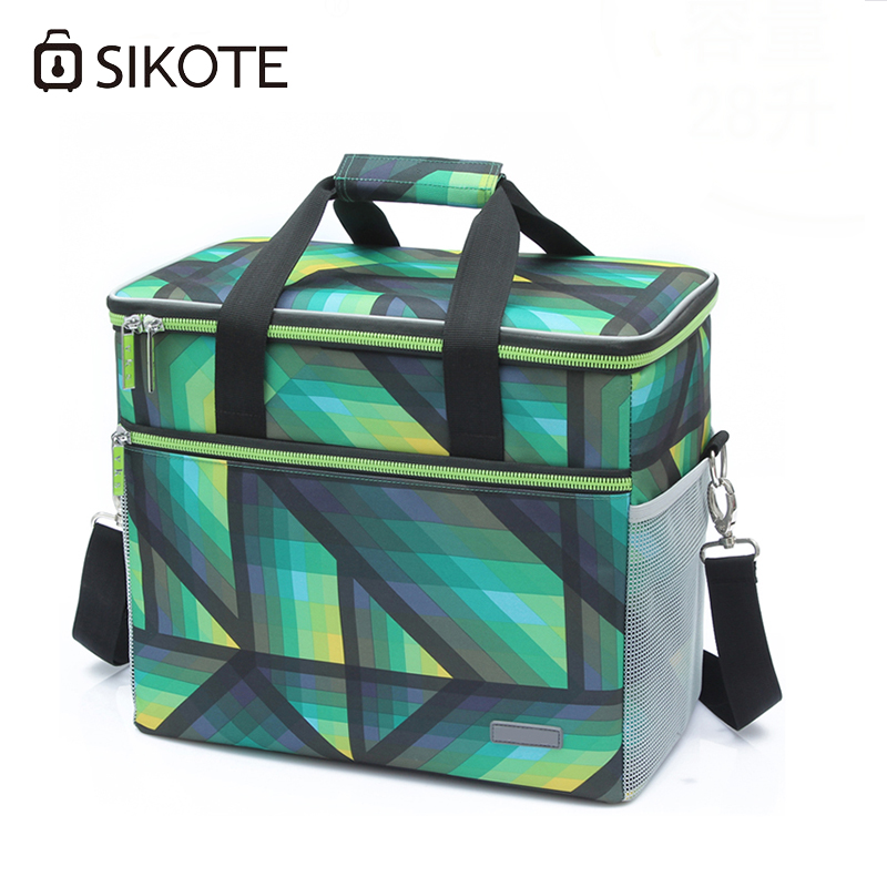 SIKOTE Portable Cooler Bag Insulation Lunch Box Solid Tote Bag Waterproof Crossbody Picnic Bag Green Lancheira Termica Marmitas waterproof cartoon cute thermal lunch bags wome lnsulated cooler carry storage picnic bag pouch for student kids