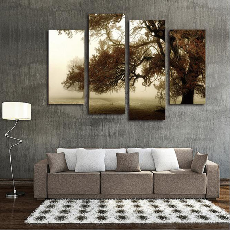 Custom made 2017 4 Panels Large Tree Painting Modern Home ...