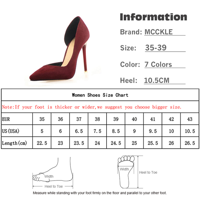 MCCKLE 2017 Women's Slip On Flock Casual Shoes Female Sexy Pointed Toe High Heel Black Pump Woman Footwear Wedding Party Shoes