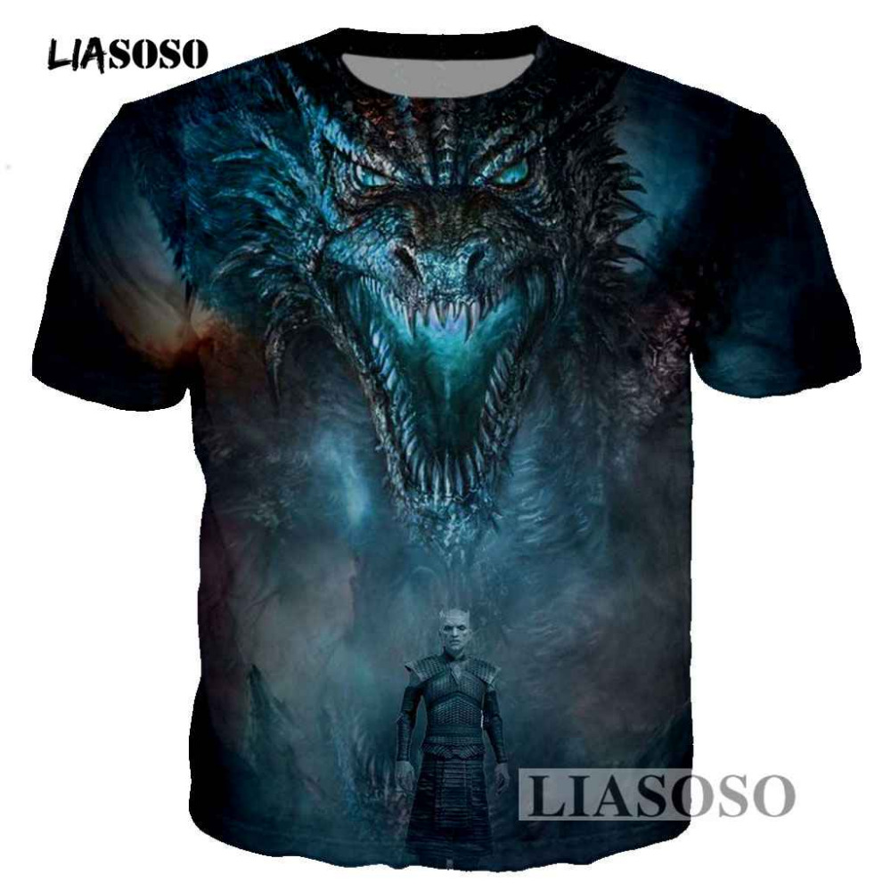 LIASOSO Game of Thrones Dragon Playing Fire 3D Printed Men/Women   T  -  shirt   casual men tshirt Tops Tee Fashion Print   t     shirt   T3419