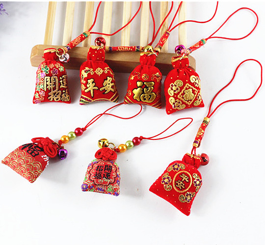 1pc Festival Omamori Traditional Fragrant Bag Phone Pendant Auspicious Fortune Charm Keyrings