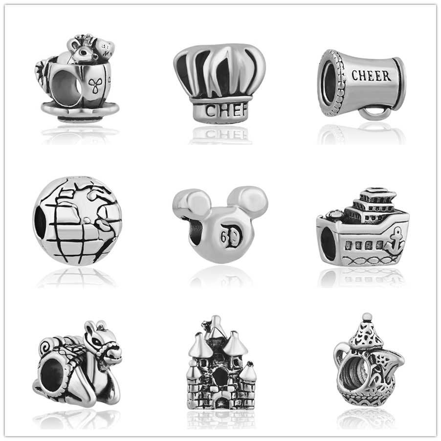 High Quality Glass Crown Ship Camel Castle Teapot alloy Bead Fit Original Pandora Bead Bracelet For Women Charm DIY P022