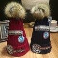 Carat Lover Yan Tang Hop Label Wool Hats Banchao Ma'am Thickening Keep Warm Thel Ball Knitting Hat winter cap women gorro caps