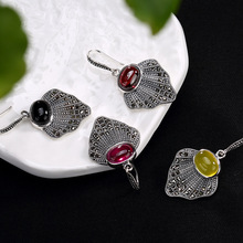 Sterling Silver Antique Upscale Fan-shaped Mosaic Jade Crystal Lady Coin Earrings Jewelry Wholesale
