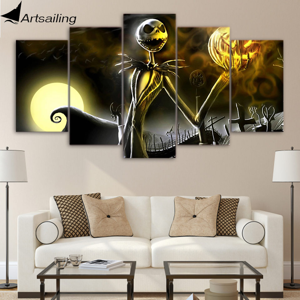 Artsailing Hd 5 Panel Canvas Art Nightmare Before Christmas Poster