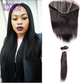 13x4 Human Hair Bundle with Frontal Closure Cheap 3Pcs 8A Russian Straight Human With Frontal Lace Closure Top Mink Human Hair