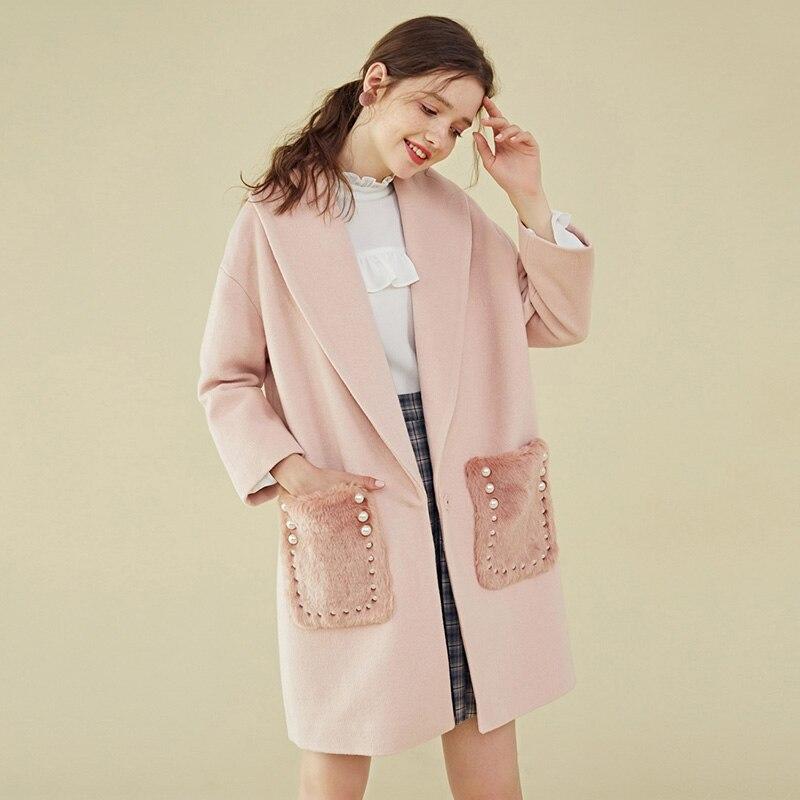 Version coréenne Personnalité Fluff Perles Poche Laine Manteau D'hiver Femmes Long en Laine Veste 2019 Nouveau Arrivée Automne Rose Outwear