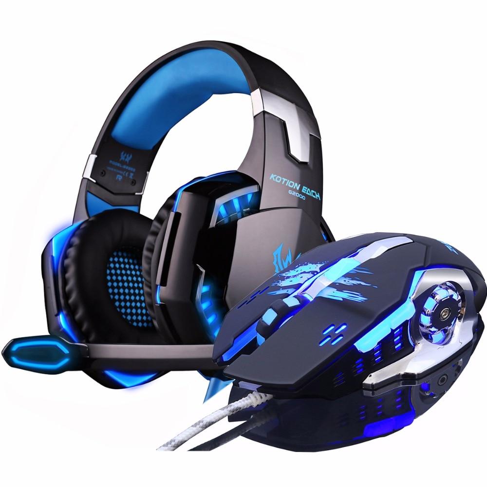 KOTION cada auricular para juegos auriculares Deep Bass estéreo LED con micrófono + Gaming óptico USB Mouse Pro Gamer Game Mice DPI regalo