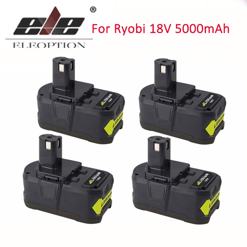 ELEOPTION 4PCS/Lot 5000mAh Li-Ion 18V Lithium Battery For Ryobi 18V Rechargeable Battery P108 RB18L40 P2000 P310 for ONE+ BIW180 eleoption with charger 18v 5000mah li ion rechargeable battery for ryobi 18v battery and charger p108 p310 for one biw180