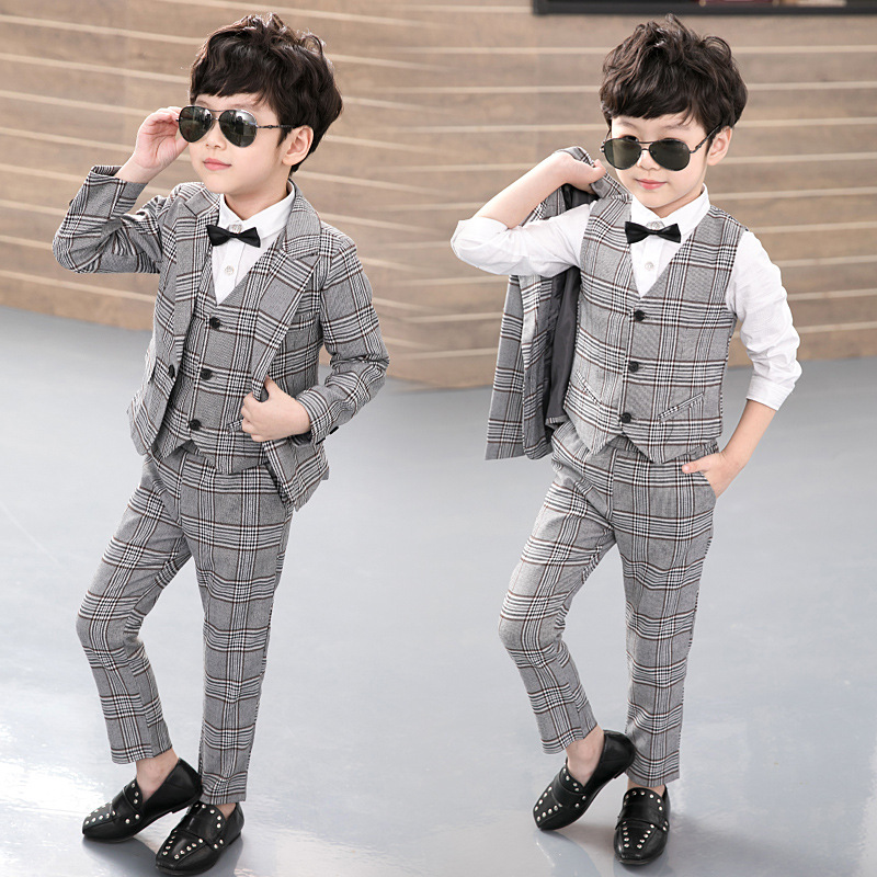 3pcs(Jacket+Vest+Pants) New 2017 Kids Plaid School Suit for Boys England Style Boy Formal Wedding Blazer Suit Performance Suit england style slim fit suit black size l