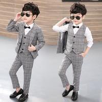 3pcs(Jacket+Vest+Pants) New 2019 Kids Plaid School Suits for Boy England Style Boy Formal Wedding Blazer Suit Performance Suit